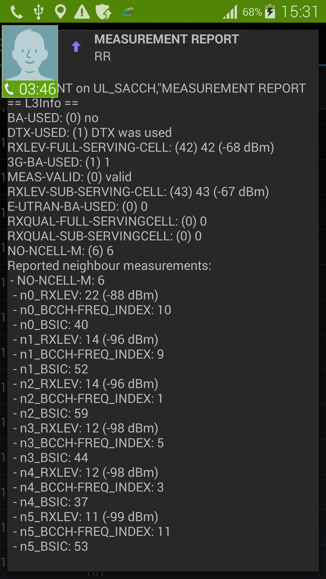 AZQ on Samsung S5 GSM L3 RR SACCH Measurement Report